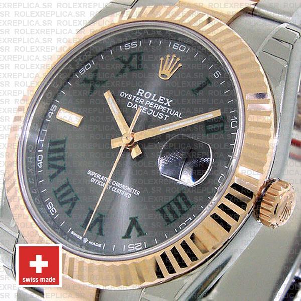 Rolex Datejust 41mm Two-Tone Slate Grey Roman Dial Watch