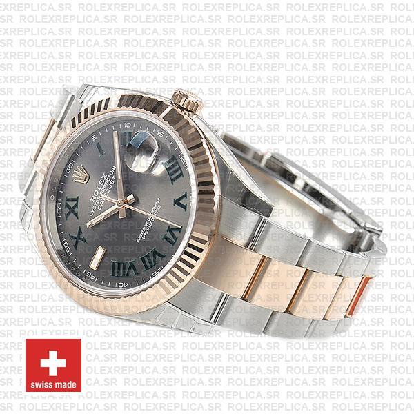 Rolex Datejust 41mm Two-Tone Slate Grey Roman Dial Replica Watch