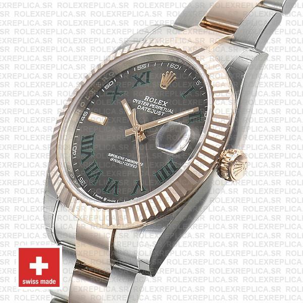Rolex Datejust 41mm Two-Tone Slate Grey Roman Dial Swiss Replica Watch