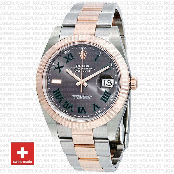Rolex Datejust Two-Tone 18k Rose Gold Slate Grey Roman Dial Stainless Steel