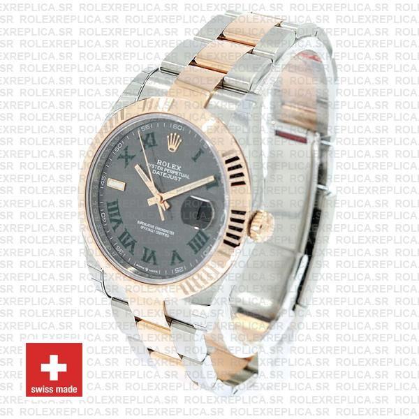 Rolex Datejust Two-Tone 18k Rose Gold Slate Grey Roman Dial Stainless Steel Replica
