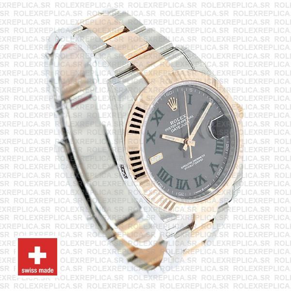 Rolex Datejust 41 Oyster 2 Tone 18k Rose Gold Fluted Bezel Slate Grey Dial Roman Markers 126331 Swiss Replica