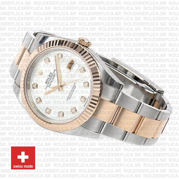 Rolex Datejust 41 Oyster 2 Tone 18k Rose Gold Fluted Bezel White Mop Dial Diamond Markers 126331 Swiss Replica