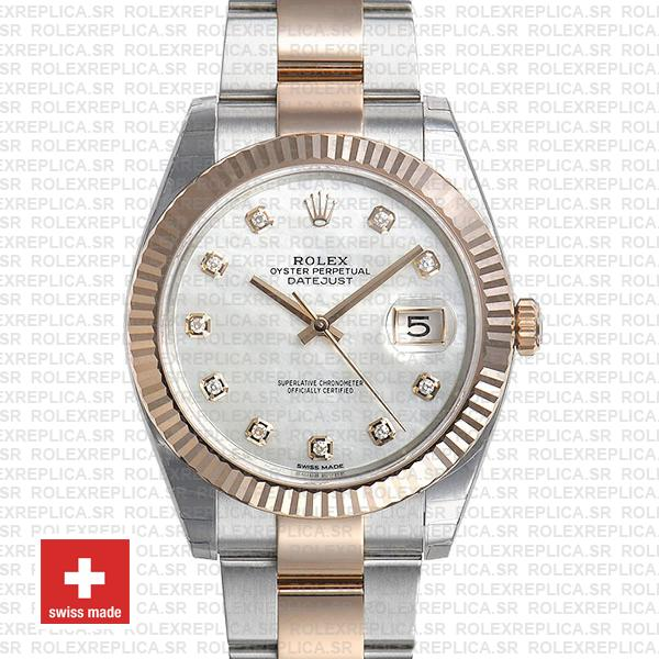 Rolex Datejust Two-Tone 18k Rose Gold, Fluted Bezel White Mother of Pearl Diamond Dial Replica