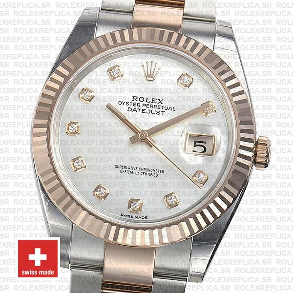 Rolex Datejust Two-Tone 18k Rose Gold, Fluted Bezel White Mother of Pearl Diamond Dial 41mm