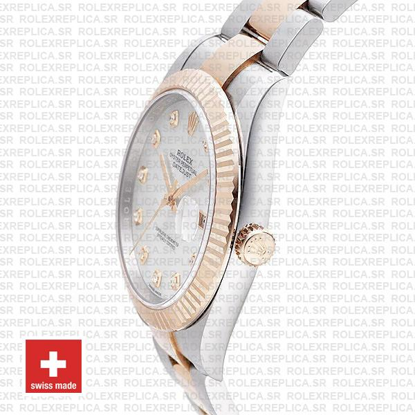 Rolex Datejust Two-Tone 18k Rose Gold, Fluted Bezel White Mother of Pearl Diamond Dial