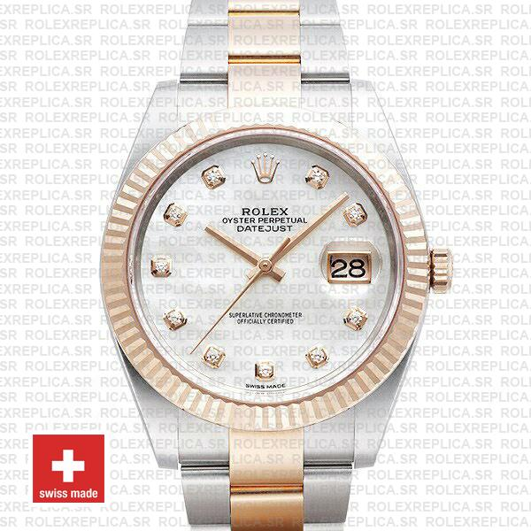 Rolex Datejust 41 Two-Tone White Diamond Dial Replica Watch