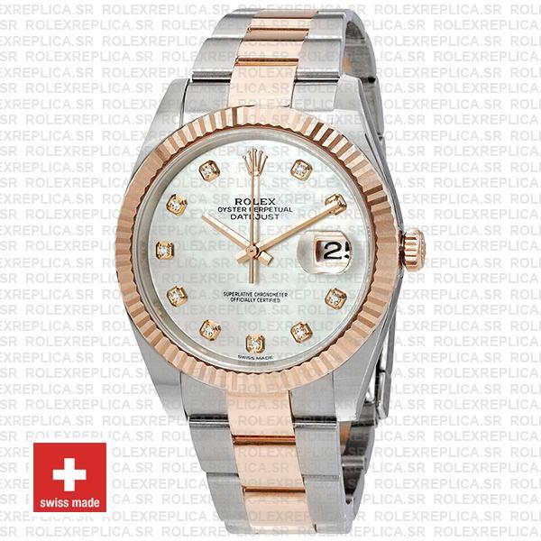 Rolex Datejust 41 Two-Tone White Diamond Dial Replica
