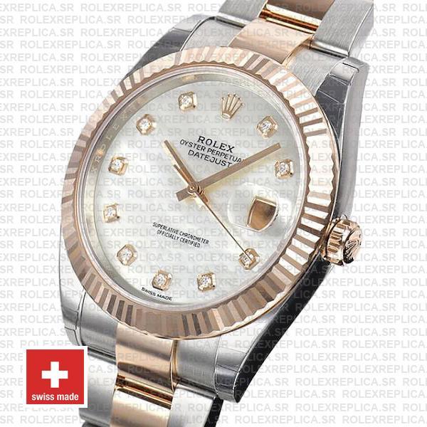 Rolex Datejust 41 Two-Tone White Diamond Dial