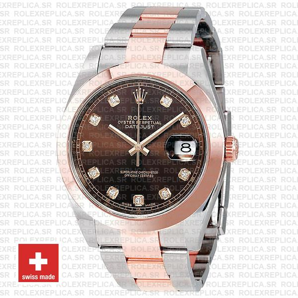 Rolex Datejust Oyster Two-Tone 18k Rose Gold Smooth Bezel Chocolate Dial 41mm