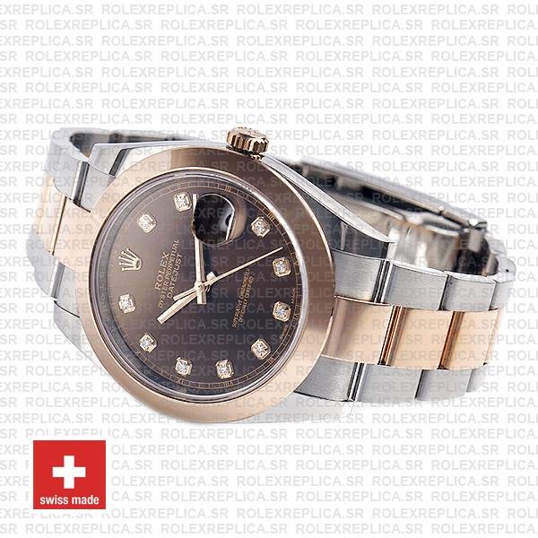 Rolex Datejust Oyster Two-Tone 18k Rose Gold Smooth Bezel Chocolate Dial
