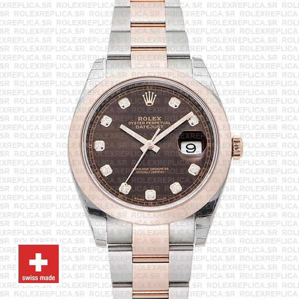 Rolex Datejust 41 Oyster 2 Tone 18k Rose Gold Smooth Bezel Chocolate Dial Diamond Markers 126301 Swiss Replica
