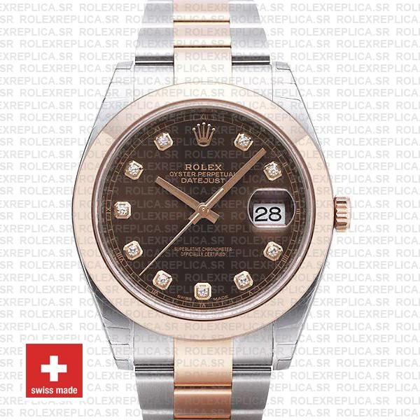 Rolex Datejust 41 Two-Tone Rose Gold Chocolate Diamond Dial