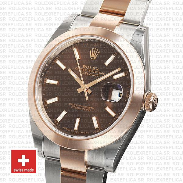 Rolex Datejust 41 Oyster 2 Tone 18k Rose Gold Smooth Bezel Chocolate Dial Stick Markers 126301 Swiss Replica