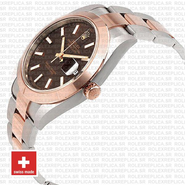 Rolex Datejust 41 Two-Tone 904L Stainless Steel 18k Rose Gold Smooth Bezel Chocolate Dial Watch