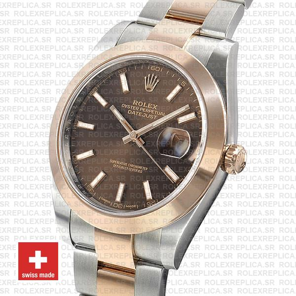 Rolex Datejust 41 Two-Tone 904L Stainless Steel 18k Rose Gold Smooth Bezel Chocolate Dial