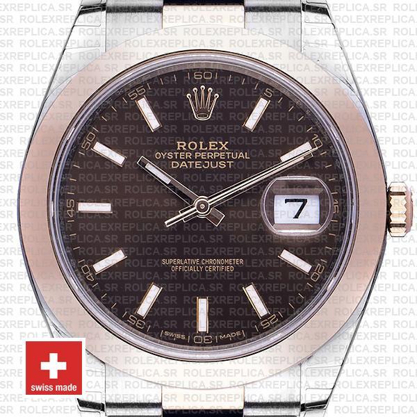 Rolex Datejust 41mm Chocolate Dial Rose Gold Swiss Replica Watch