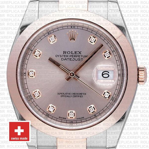 Rolex Datejust 41 Oyster 2 Tone 18k Rose Gold Smooth Bezel Pink Dial Diamond Markers 126301 Swiss Replica