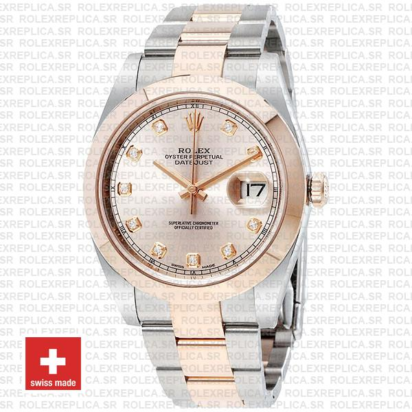 Rolex Datejust 41mm Two-Tone 18k Rose Gold 904L Steel Smooth Bezel Pink Dial Diamond Markers