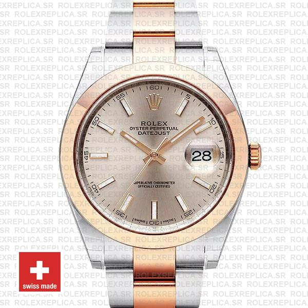 Rolex Datejust 41 Pink Dial Rose Gold Two-Tone Replica Watch