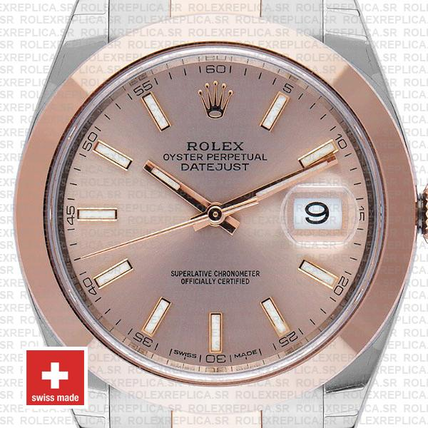 Rolex Datejust 41 Pink Dial Rose Gold Two-Tone Swiss Replica Watch