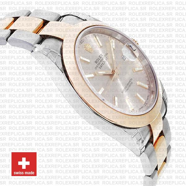 Rolex Datejust Two-Tone 18k Rose Gold Smooth Bezel Pink Dial Watch