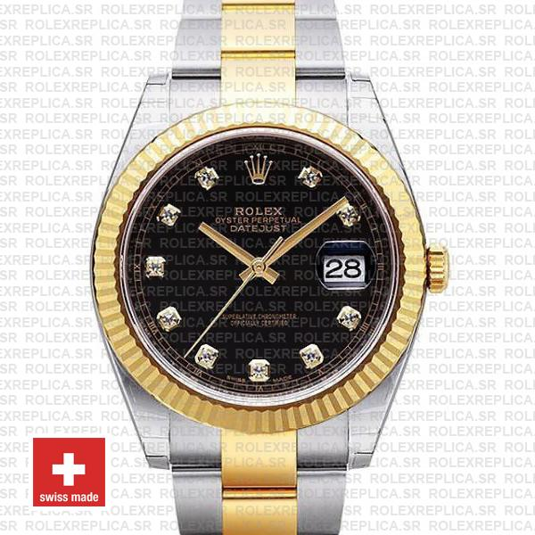 Rolex Datejust 41mm Two-Tone Black Dial adorned with Moissanite Diamonds & Fluted Bezel