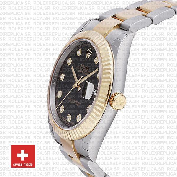 Rolex Datejust 41 Two-Tone Black Dial Diamonds