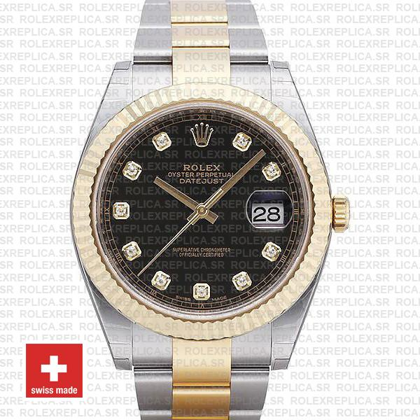 Rolex Datejust 41 Oyster 2 Tone 18k Yellow Gold Fluted Bezel Black Dial Diamond Markers 126333 Swiss Replica