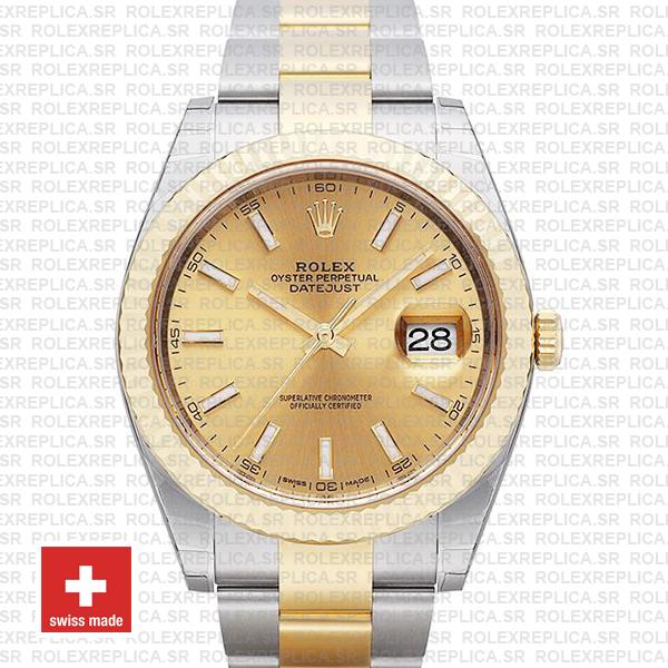 Rolex Datejust Gold Dial Two-Tone 41mm | Fluted Bezel Watch