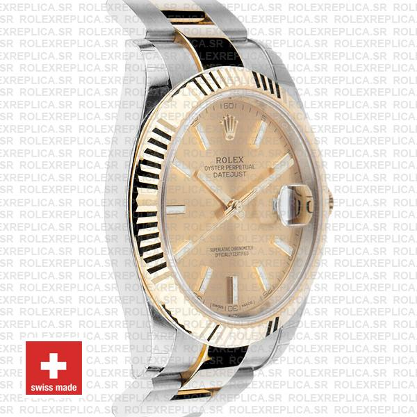 Rolex Datejust Gold Dial Two-Tone 41mm Fluted Bezel Watch
