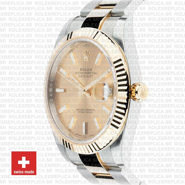 Rolex Datejust Gold Dial Two-Tone 41mm Fluted Bezel Replica Watch