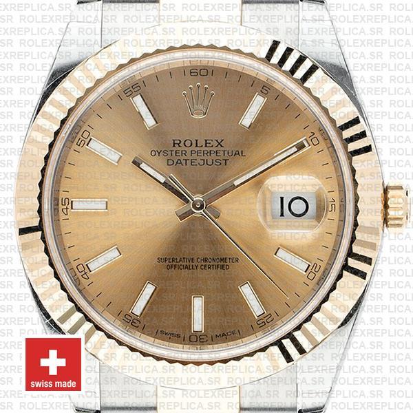 Rolex Datejust Gold Dial Two-Tone 41mm Fluted Bezel Swiss Replica Watch
