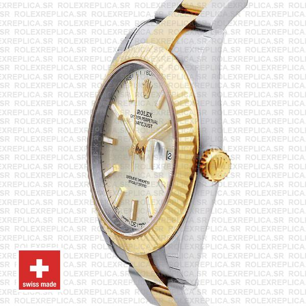 Rolex Datejust 41 Oyster 2 Tone 18k Yellow Gold Fluted Bezel Silver Dial Stick Markers 126333 Swiss Replica