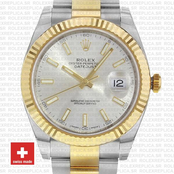 Rolex Oyster Perpetual Datejust Two-Tone 18k Yellow Gold, Silver Dial 41mm Fluted Bezel Watch