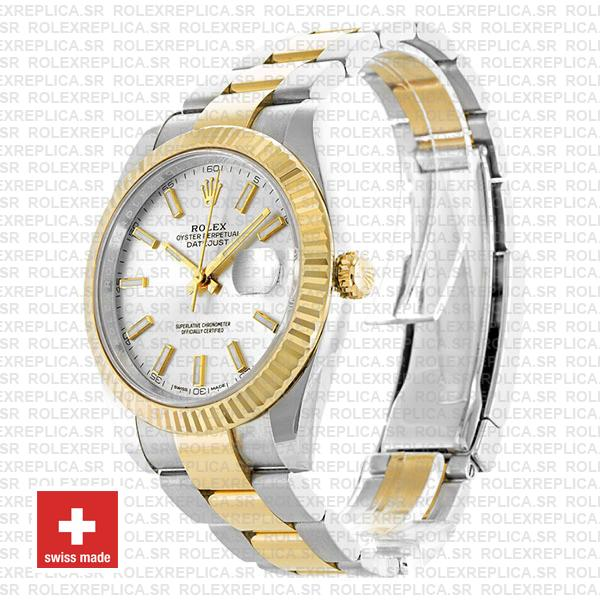 Rolex Oyster Perpetual Datejust Two-Tone 18k Yellow Gold, Silver Dial 41mm Fluted Bezel