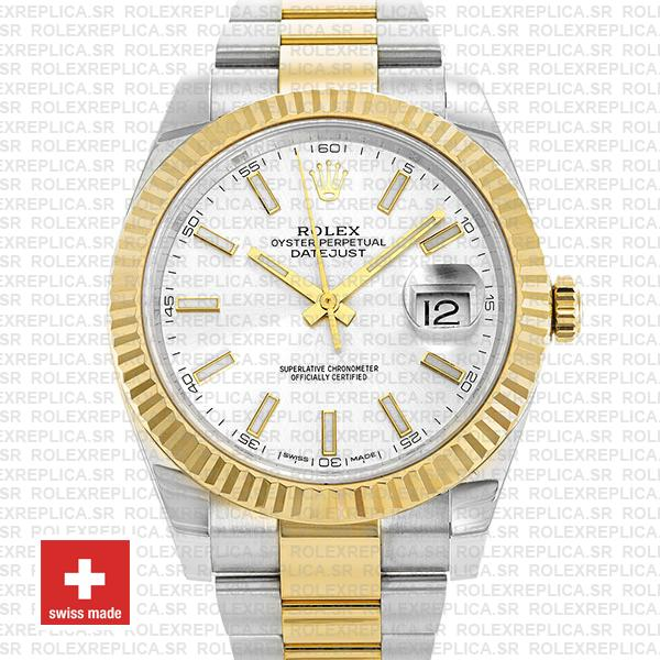 Rolex Oyster Perpetual Datejust Two-Tone 18k Yellow Gold, Silver Dial 41mm
