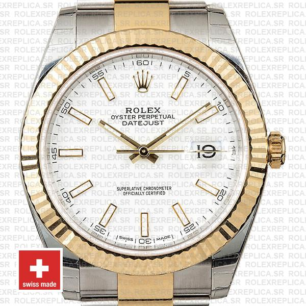 Rolex Oyster Perpetual Datejust Two-Tone Stainless Steel 18k Yellow Gold White Dial 41mm Watch