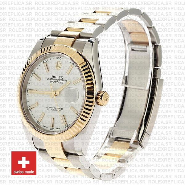 Rolex Datejust 41 Oyster 2 Tone 18k Yellow Gold Fluted Bezel White Dial Stick Markers 126333 Swiss Replica