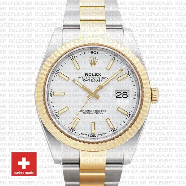 Rolex Datejust White Dial Two Tone 41mm Swiss Replica Watch