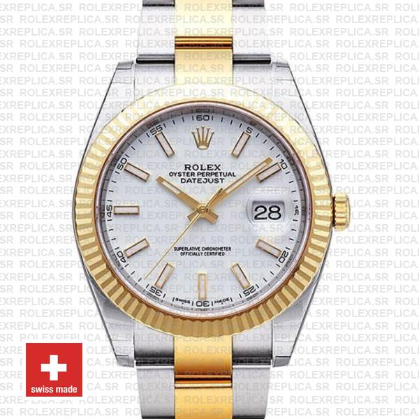 Rolex Datejust White Dial Two Tone 41mm Watch | RolexReplica