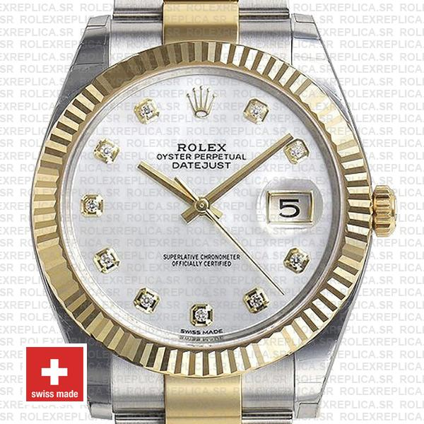Rolex Datejust Two-Tone 18k Yellow Gold Fluted Bezel White Diamonds Dial