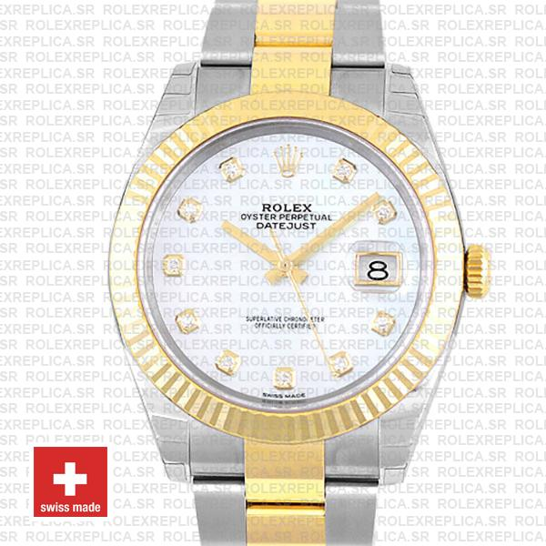 Rolex Datejust 41 Oyster 2 Tone 18k Yellow Gold Fluted Bezel White Mop Dial Diamond Markers 126333 Swiss Replica
