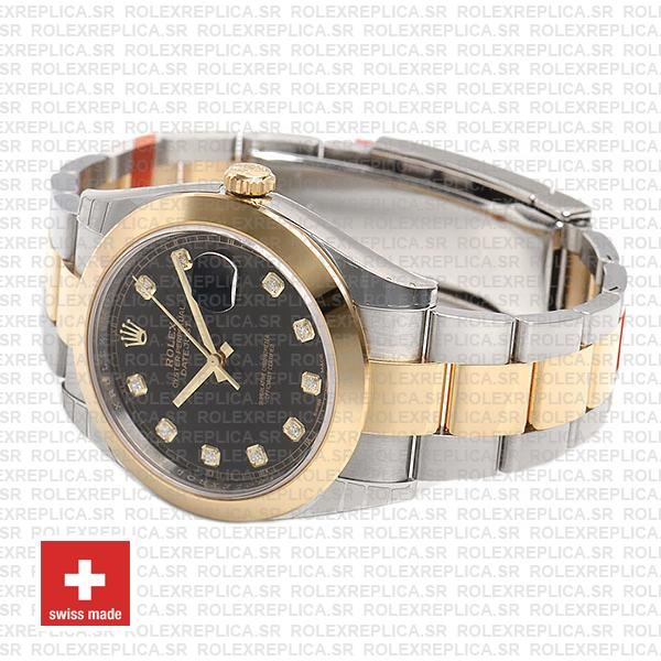 Rolex Datejust 41 Oyster 2 Tone 18k Yellow Gold Smooth Bezel Black Dial Diamond Markers 126303 Swiss Replica