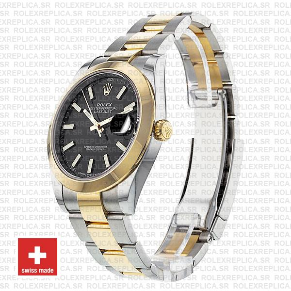 Rolex Datejust 41 Oyster 2 Tone 18k Yellow Gold Smooth Bezel Black Dial Stick Markers 126303 Swiss Replica