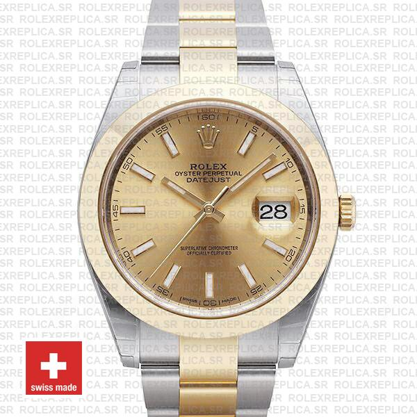 Rolex Oyster Perpetual Datejust 18k Yellow Gold Two-Tone Gold Dial Replica Watch