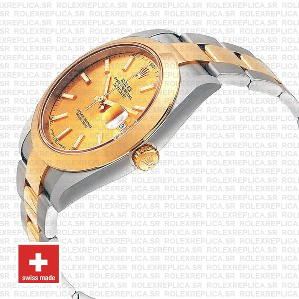 Rolex Oyster Perpetual Datejust 18k Yellow Gold Two-Tone Gold Dial Watch