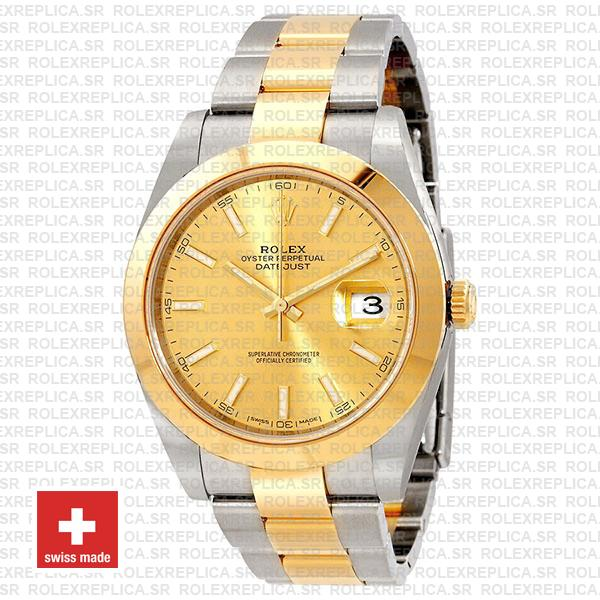 Rolex Oyster Perpetual Datejust 18k Yellow Gold Two-Tone Gold Dial