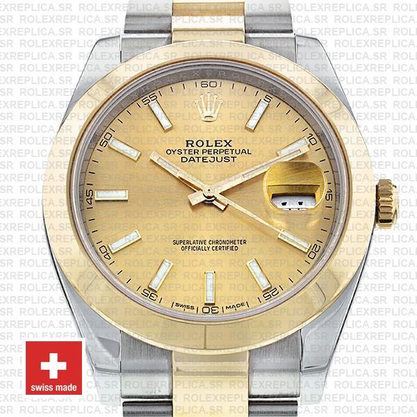 Rolex Datejust Two-Tone 41mm Gold Dial Rolex Replica Watch