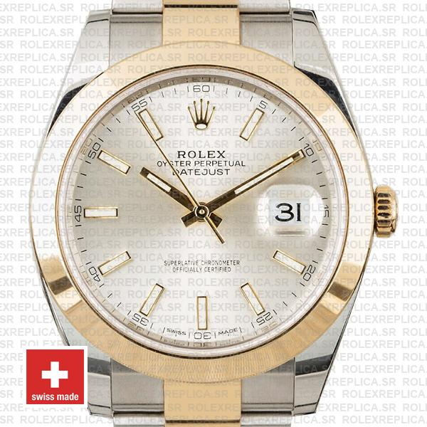 Rolex Datejust 41 18k Yellow Gold Two-Tone, 904L Steel Smooth Bezel Silver Dial Stick Markers 41mm